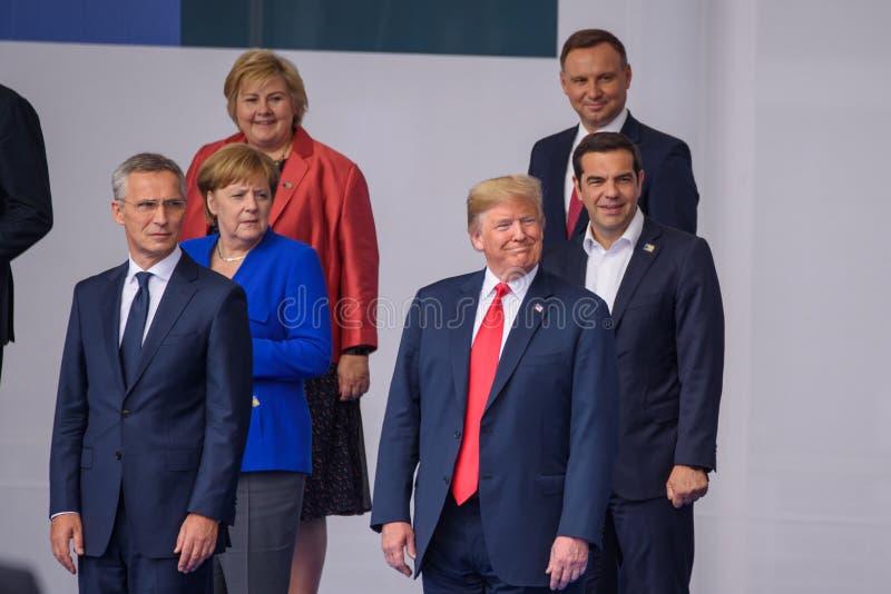 Jens Stoltenberg, Angela Merkel, Erna Solberg, Donald Trump, Alexis Tsipras, Andrzej Duda fotografie stock