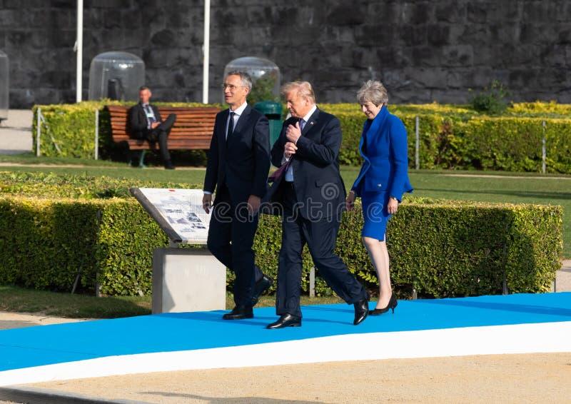 Jens Stoltenberg, Donald Trump et Teresa May image libre de droits