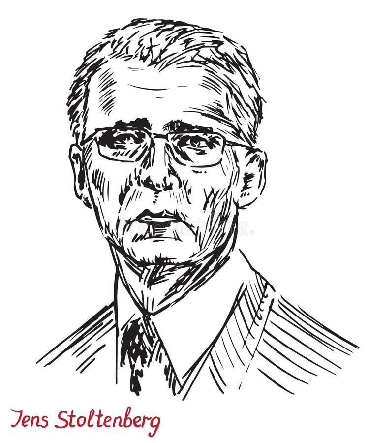 Jens Stoltenberg, norsk politiker och den 13th sekreteraren General av NATO för organisation för fördrag för norrAtlanten royaltyfri illustrationer