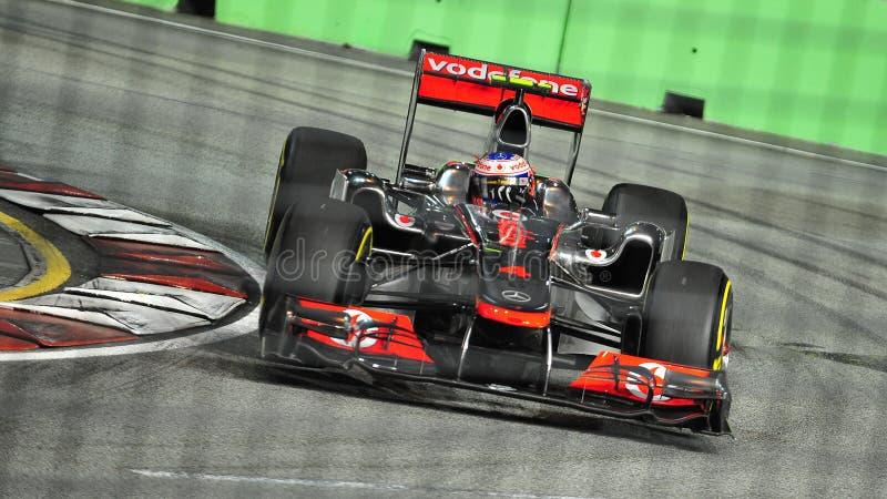 Jenson Button at 2011 Singapore F1 stock photography