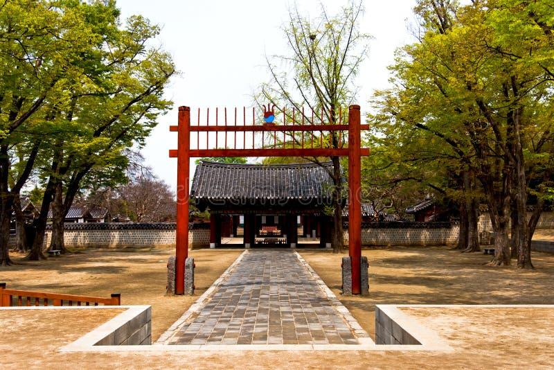 Jeonju Hanok village South Korea. Traditional Korean hanok village area in Jeonju city - entrance of temple sight stock image