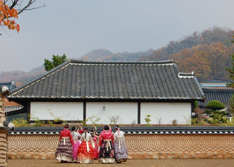 Jeonju Hanok Village, South Korea - 09.11.2018: Womans gather in stock images