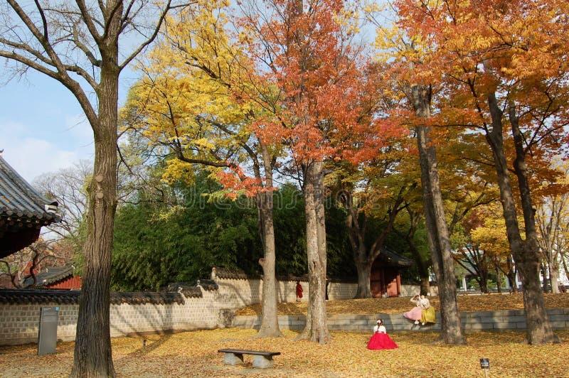 Jeonju Hanok Village, South Korea - 09.11.2018: 3 Womans in hanbok dress inside of traditional garden. royalty free stock photos