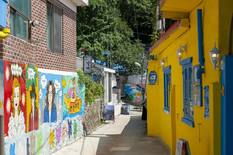 Colourful paintings and decorations on walls and buildings at Jaman Mural Village in Jeonju, South Korea royalty free stock photography