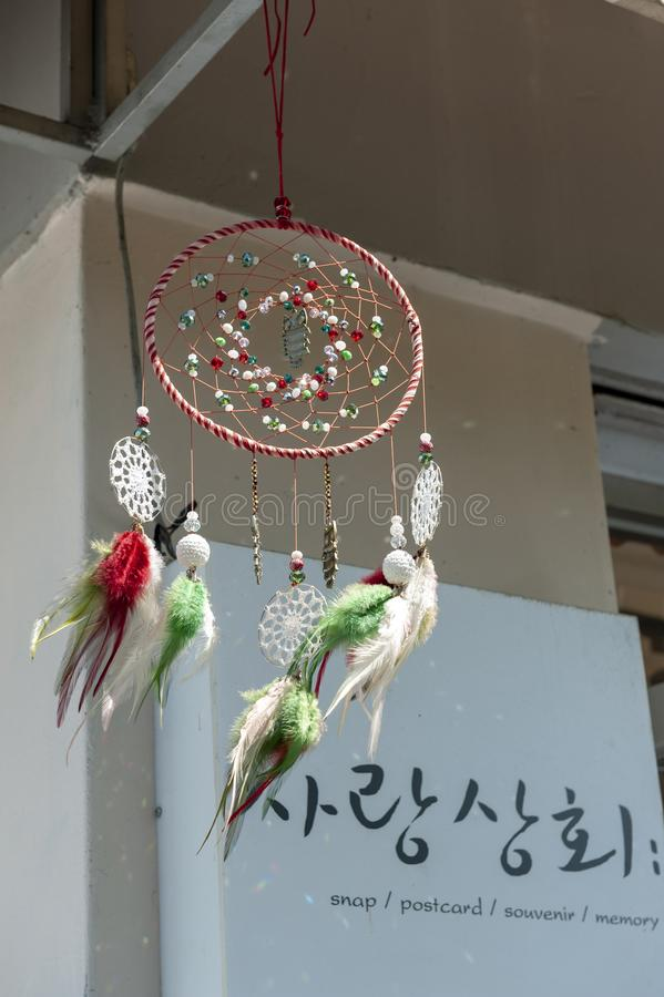 Dreamcatcher hanging at a cafe in Jaman Mural Village, located near Jeonju Hanok Village in Jeonju, South Korea royalty free stock photography