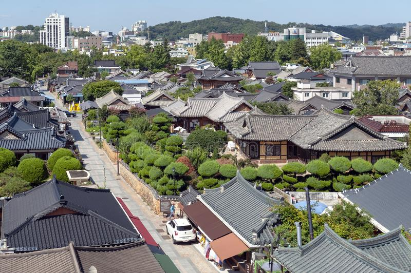 Jeonju Hanok Village, popular tourist attraction with Korean traditional houses in South Korea. Jeonju, South Korea - September 2018: View of Jeonju Hanok stock images