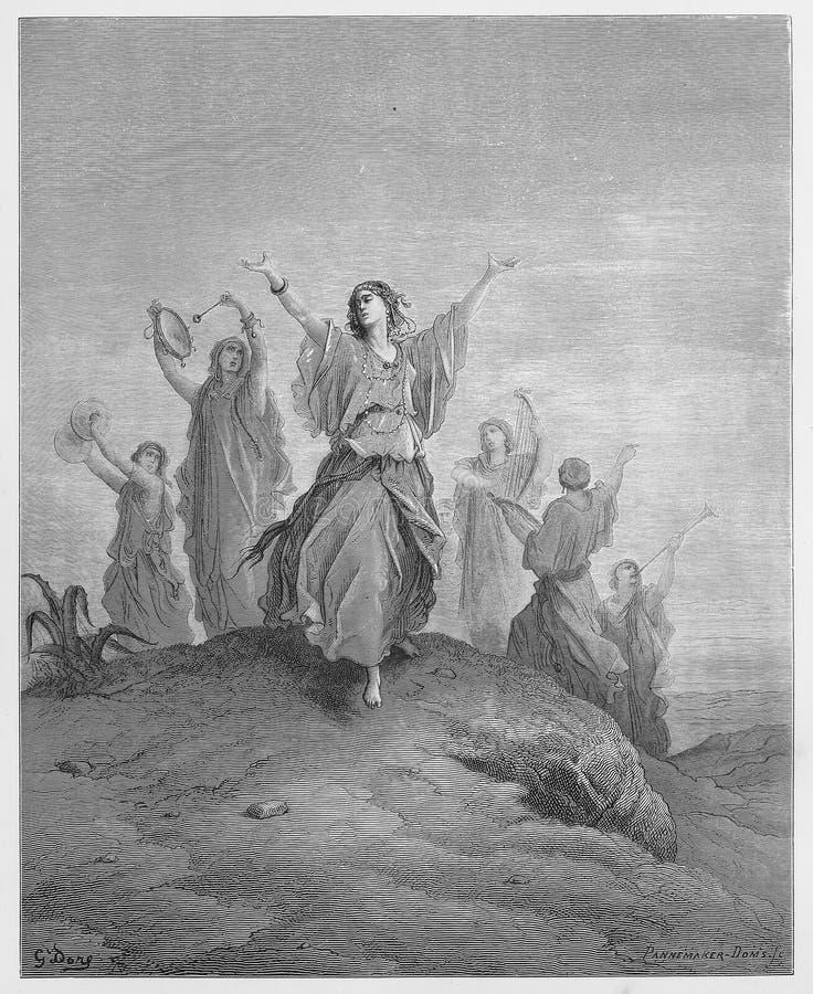Jephthah-` s Tochter kommt, ihren Vater zu treffen lizenzfreie abbildung