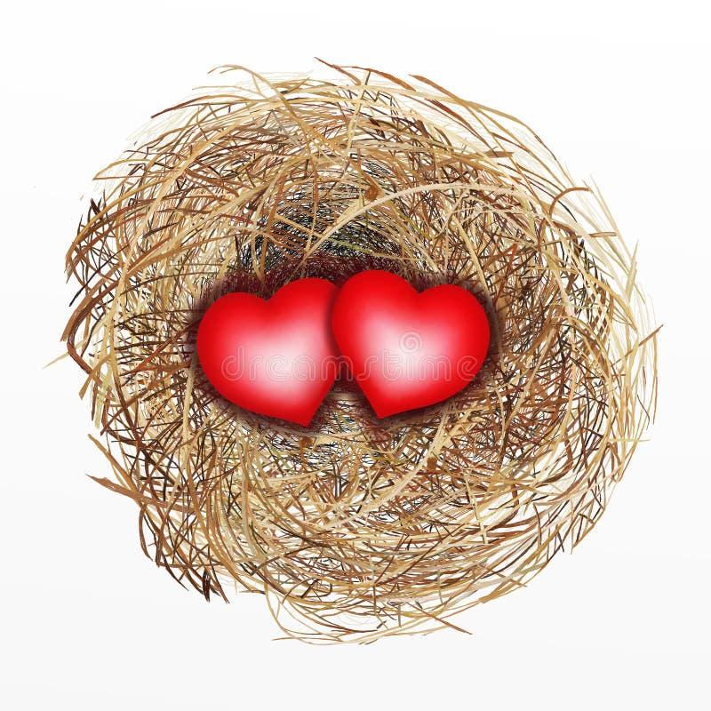 Jerarquía agradable construida del pájaro con el corazón de dos rojos stock de ilustración