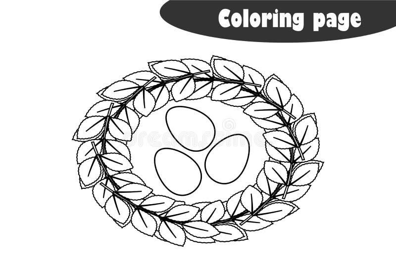 Jerarquía con los huevos en el estilo de la historieta, página que colorea, juego del papel de la educación de la primavera para  stock de ilustración