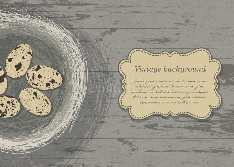 Jerarquía con los huevos en textura de madera. ilustración del vector