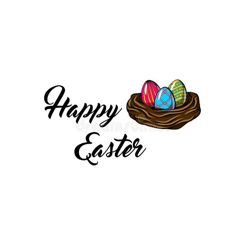 Jerarquía con tres huevos paited Tarjeta de felicitación de Pascua Ilustración del vector ilustración del vector