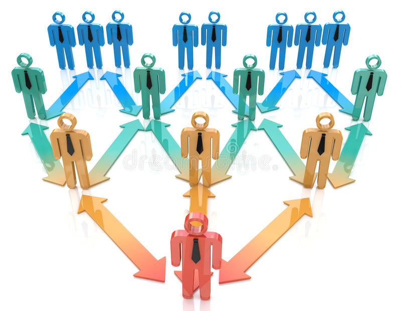 Jerarquía de la organización del líder de equipo stock de ilustración