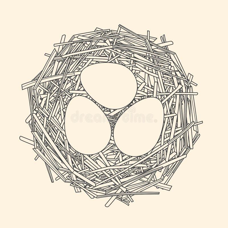 Jerarquía de la paja con tres huevos ilustración del vector