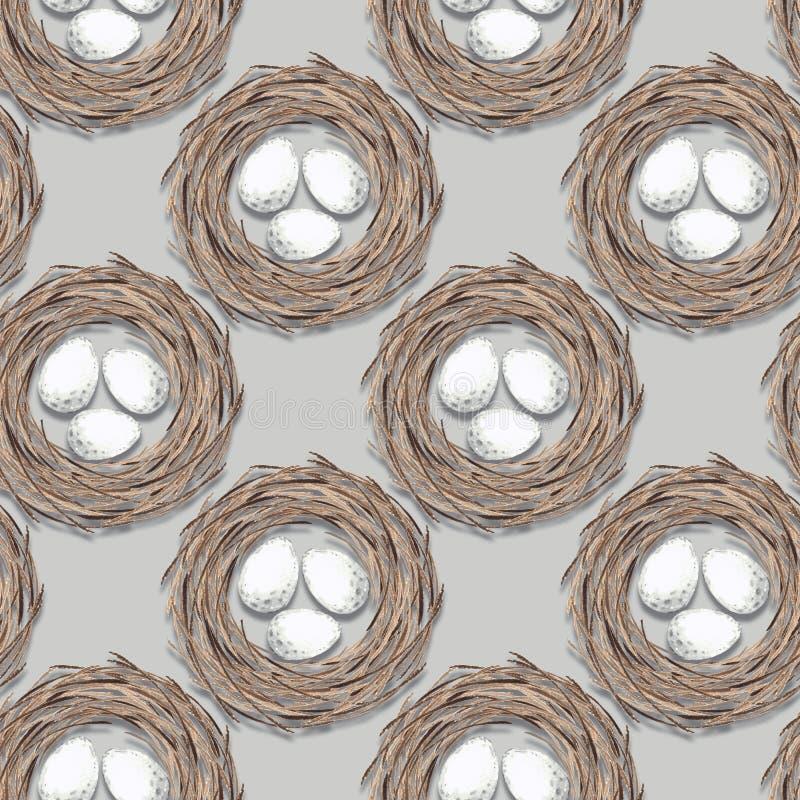 Jerarquía de los pájaros con los huevos Modelo inconsútil libre illustration