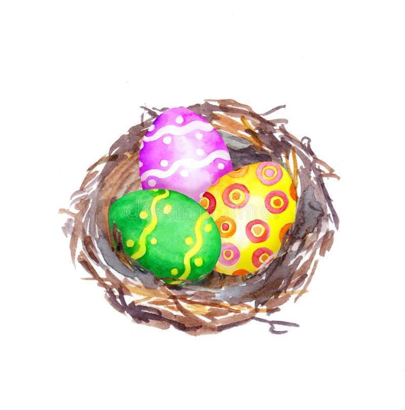 Jerarquía de Pascua con los huevos watercolor libre illustration
