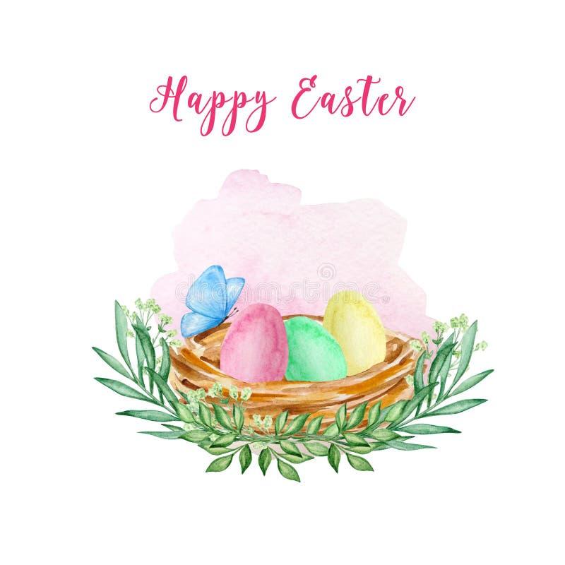 Jerarquía de pascua de la acuarela con los huevos de Pascua libre illustration