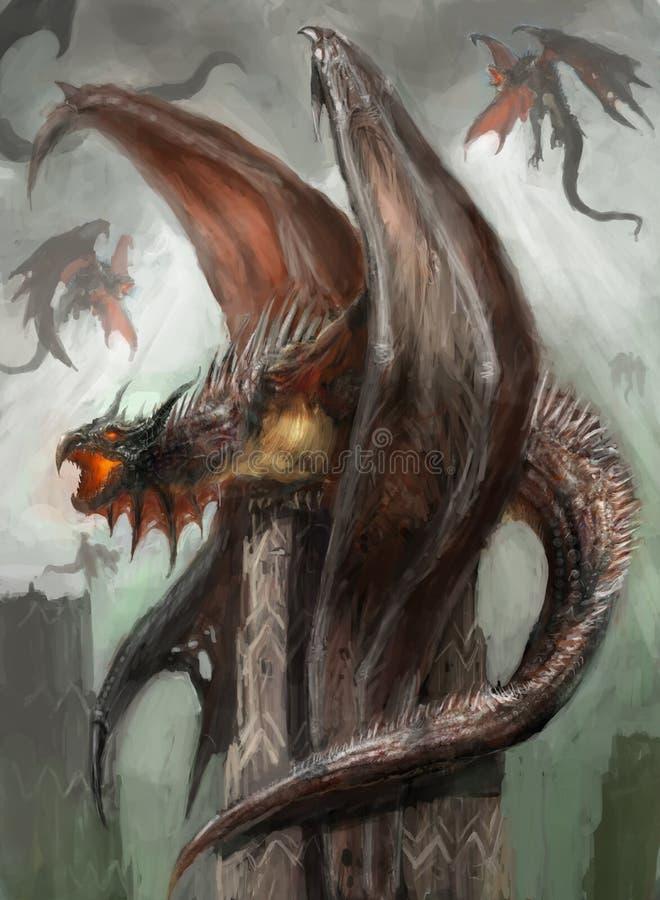 Jerarquía del dragón stock de ilustración
