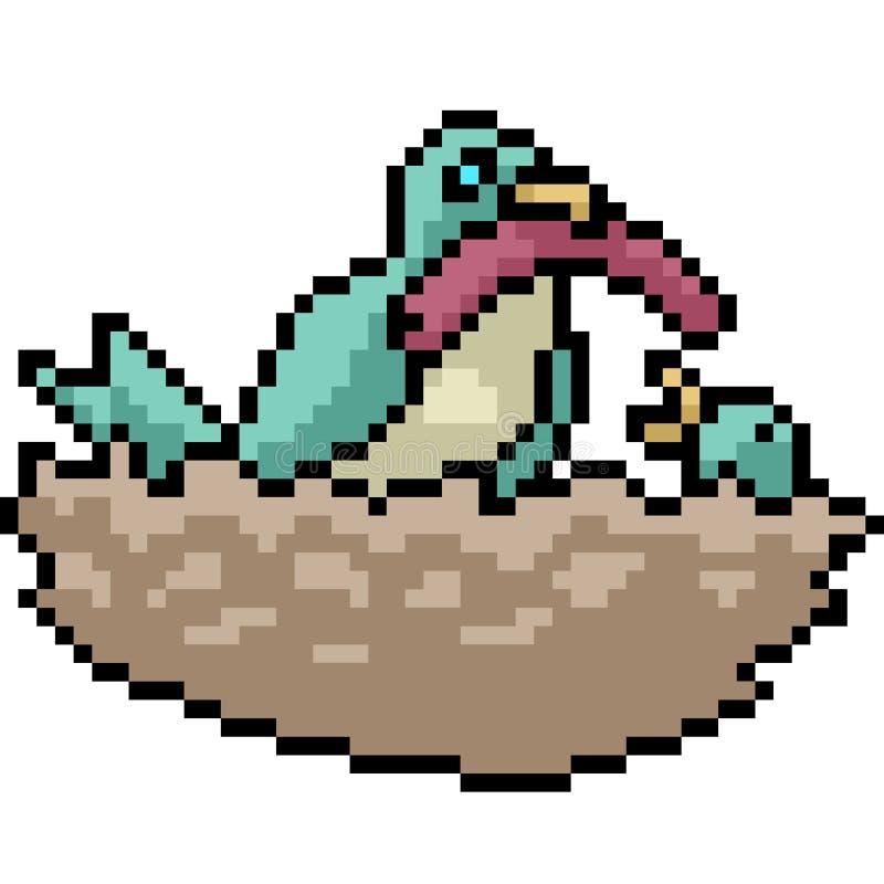 Jerarquía del pájaro del arte del pixel del vector ilustración del vector