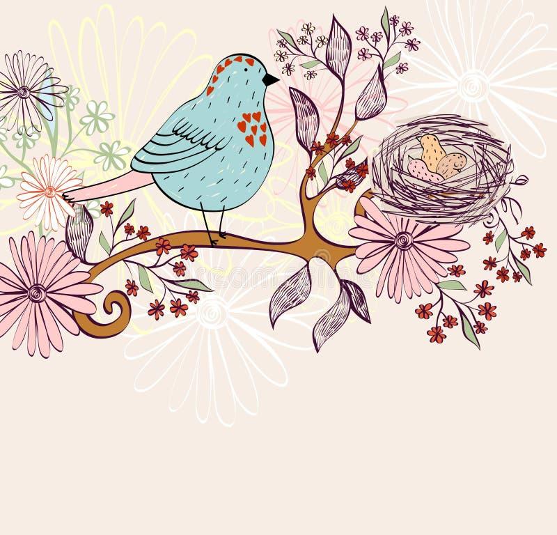 Jerarquía del pájaro en la rama de árbol ilustración del vector