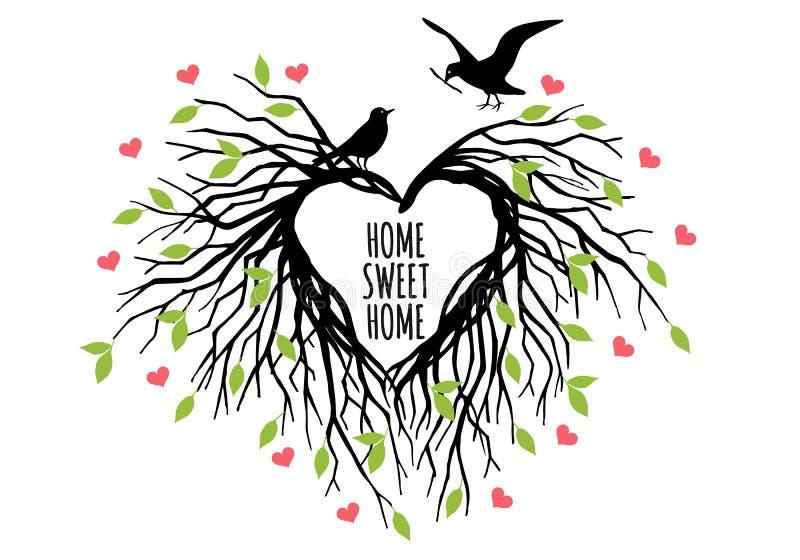 Jerarquía en forma de corazón del pájaro, vector stock de ilustración