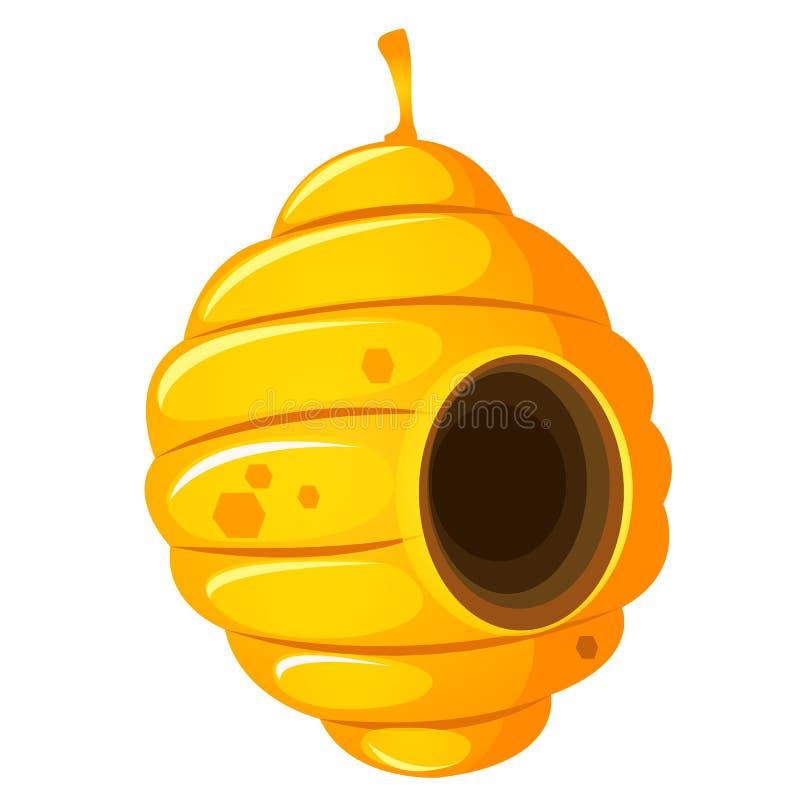 Jerarquía o avispero de las abejas salvajes aisladas en el fondo blanco Ejemplo del primer de la historieta del vector libre illustration