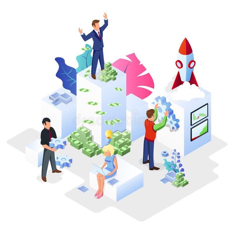 Jerarquía, subordinación, clasificación en corporación, empresa Inicio, desarrollo, crecimiento financiero ilustración del vector