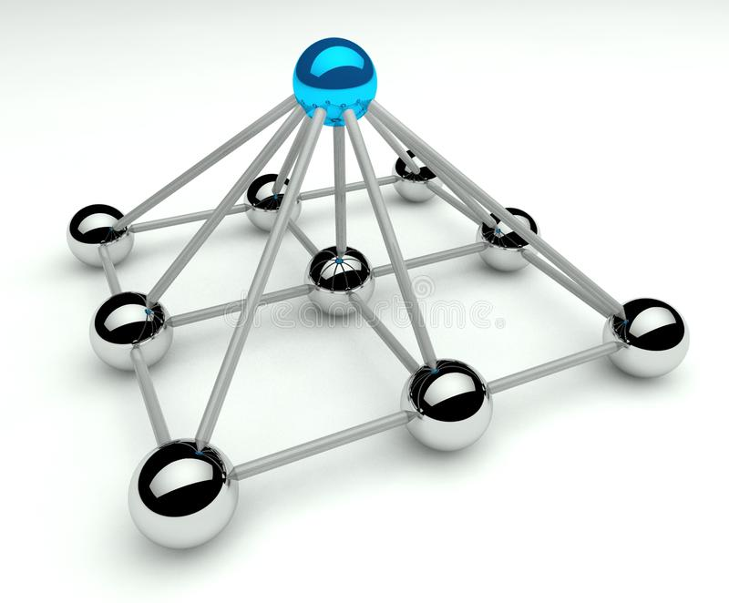 Jerarquía y gerencia, niveles del piramid 3d ilustración del vector