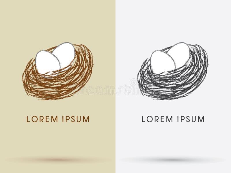 Jerarquía y huevos del pájaro ilustración del vector