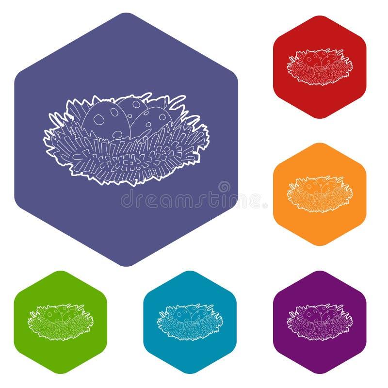 Jerarqu?a del p?jaro con el icono de los huevos, estilo isom?trico 3d ilustración del vector