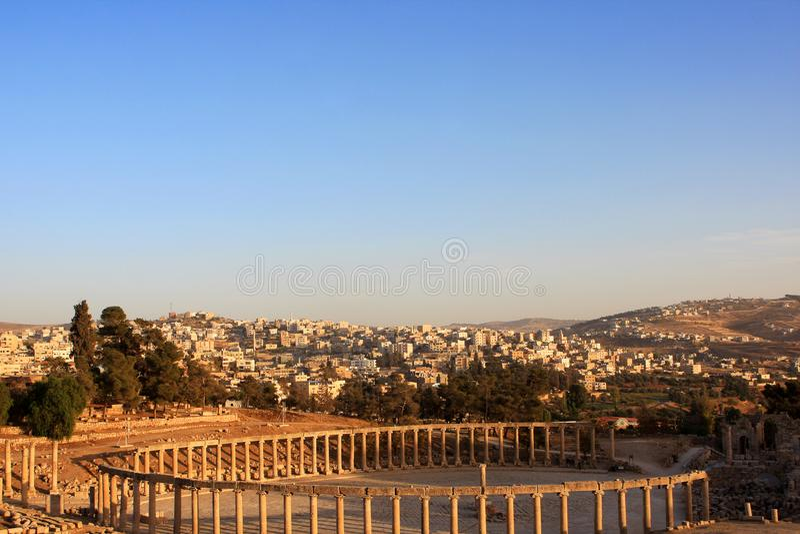 Jerash city, Jordan. Ruins of the Roman city of Gerasa, Jerash, Jordan royalty free stock photo