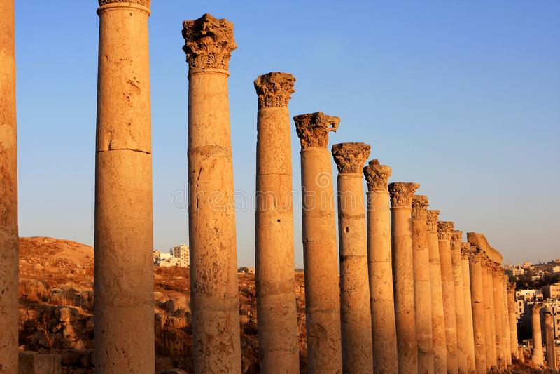 Jerash city, Jordan. Ruins of the Roman city of Gerasa, Jerash, Jordan stock photos