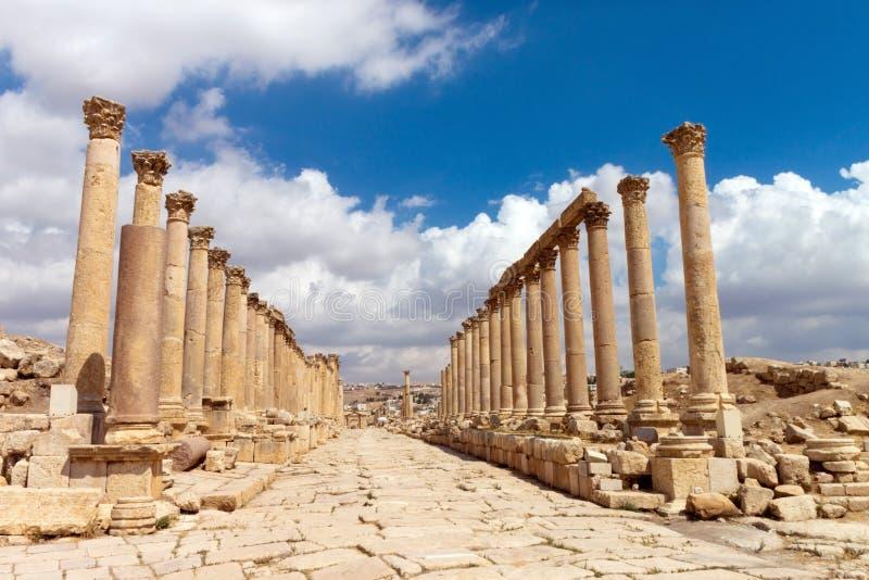 Jerash, Ruïnes van de Grieks-Romeinse stad van Gera stock afbeelding