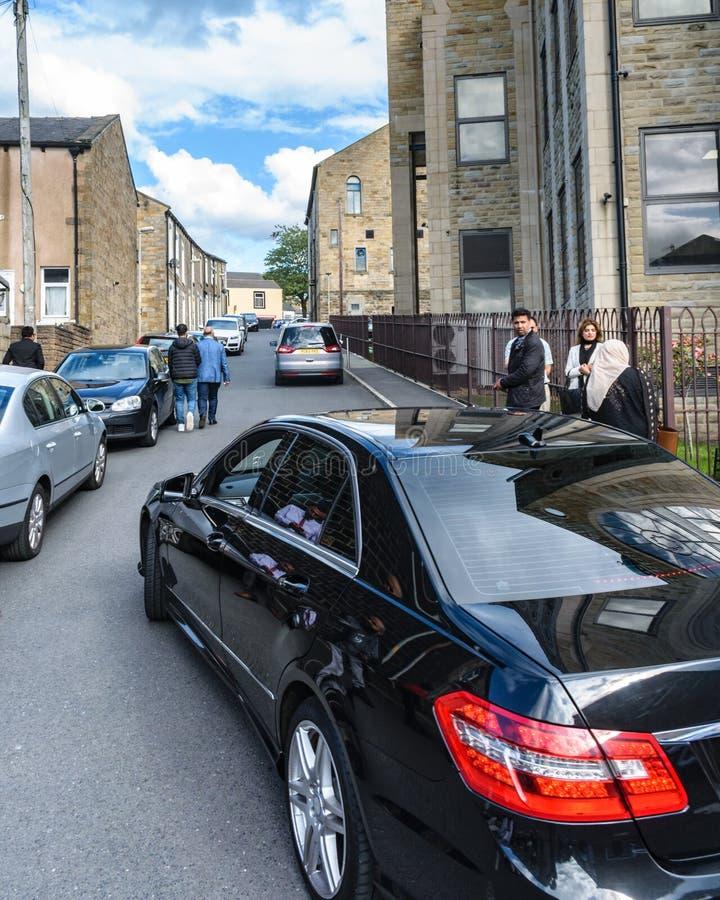 Jeremy Corbyn laissant Brierfield après visite d'une mosquée photo stock