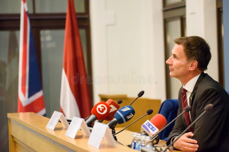 Jeremy Hunt, Minister van Buitenlandse zaken van het Verenigd Koninkrijk stock foto
