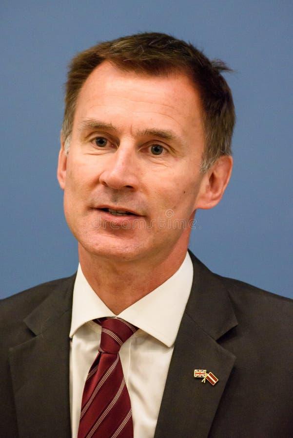 Jeremy Hunt, ministro degli affari esteri del Regno Unito immagini stock