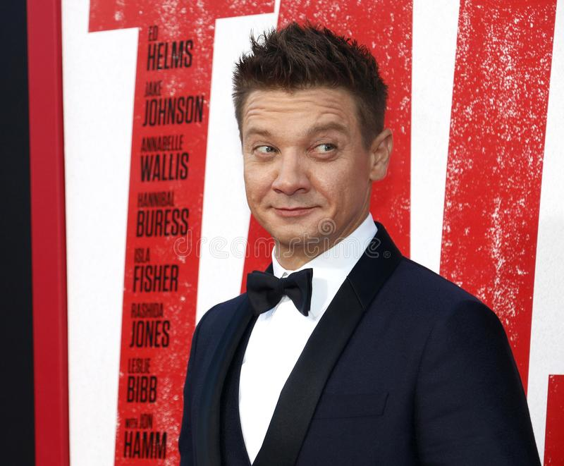 Jeremy Renner. At the Los Angeles premiere of `Tag` held at the Regency Village Theatre in Westwood, USA on June 7, 2018 royalty free stock images