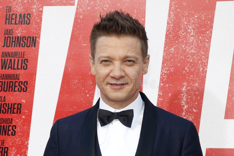 Jeremy Renner. At the Los Angeles premiere of `Tag` held at the Regency Village Theatre in Westwood, USA on June 7, 2018 stock photography