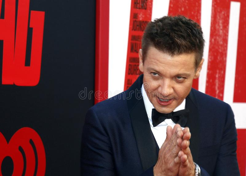 Jeremy Renner. At the Los Angeles premiere of `Tag` held at the Regency Village Theatre in Westwood, USA on June 7, 2018 stock photo