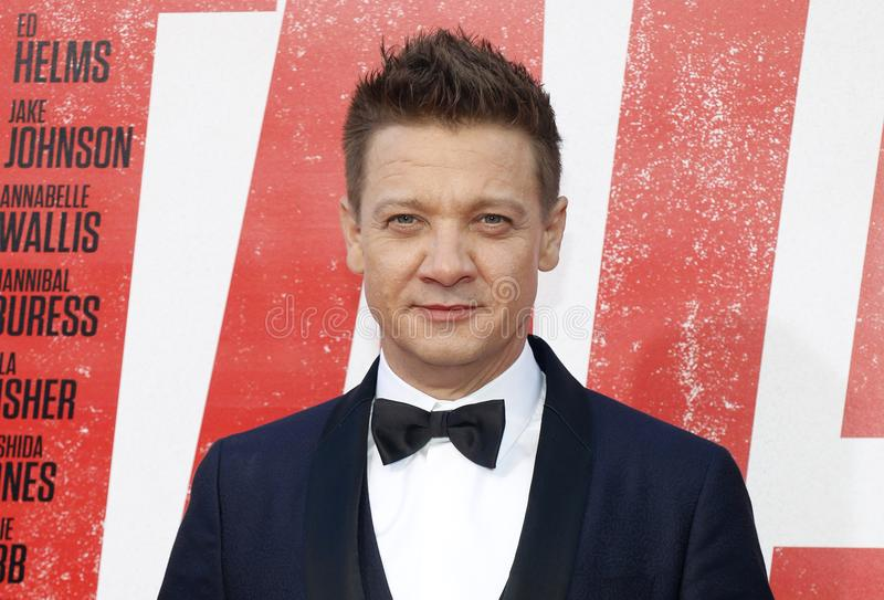 Jeremy Renner. At the Los Angeles premiere of `Tag` held at the Regency Village Theatre in Westwood, USA on June 7, 2018 stock image
