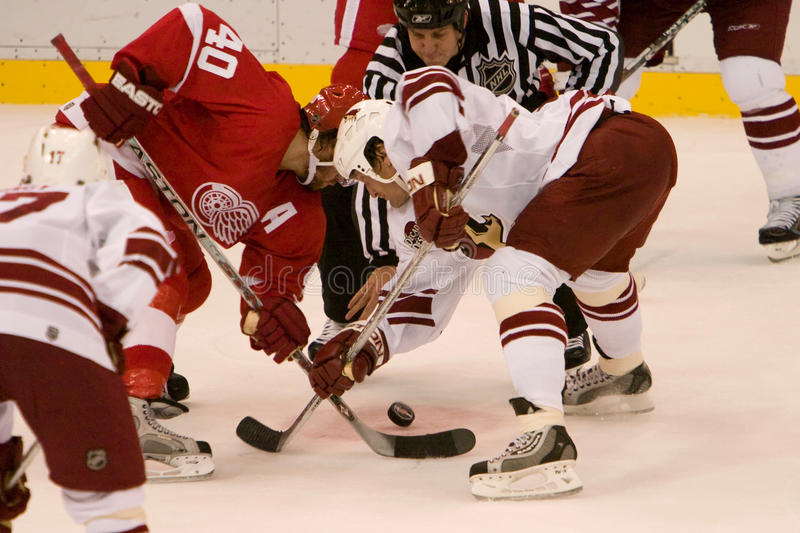 Jeremy Roenick Faces Off Against Henrik Zetterberg foto de archivo libre de regalías