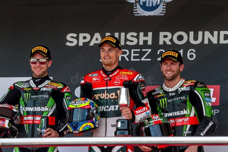 Superbike Wolrd Championship podium stock image