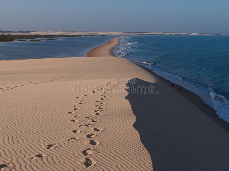 Jericoacoara strand som ses från dynöverkanten arkivbild
