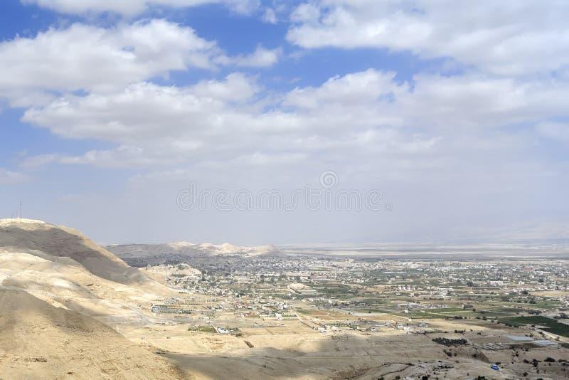 Jerihocityscape van Judea-woestijn. stock foto