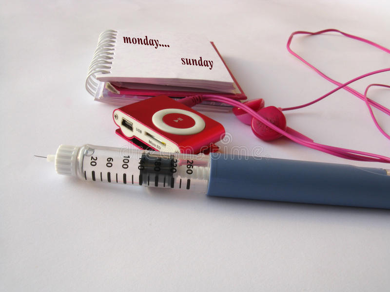 Jeringuilla diabética imagen de archivo libre de regalías