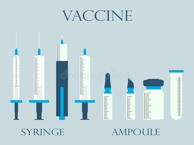 Jeringuilla y frascos Jeringuilla y ampollas vacuna Fije los iconos en la línea estilo stock de ilustración