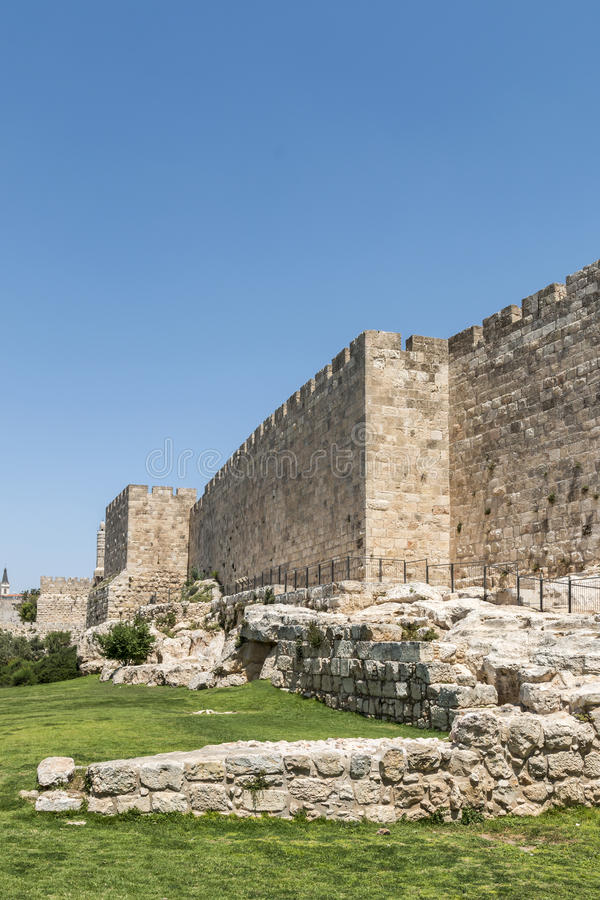 Jerisalem alte Stadt-Wände lizenzfreie stockfotos