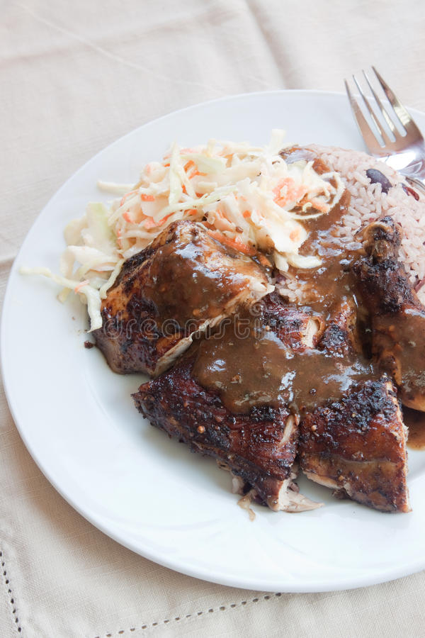 Download Jerk Chicken With Rice - Caribbean Style Stock Photo - Image: 28699078