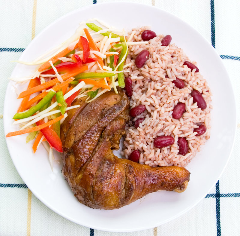 Free Jerk Chicken With Rice Stock Image - 2444581