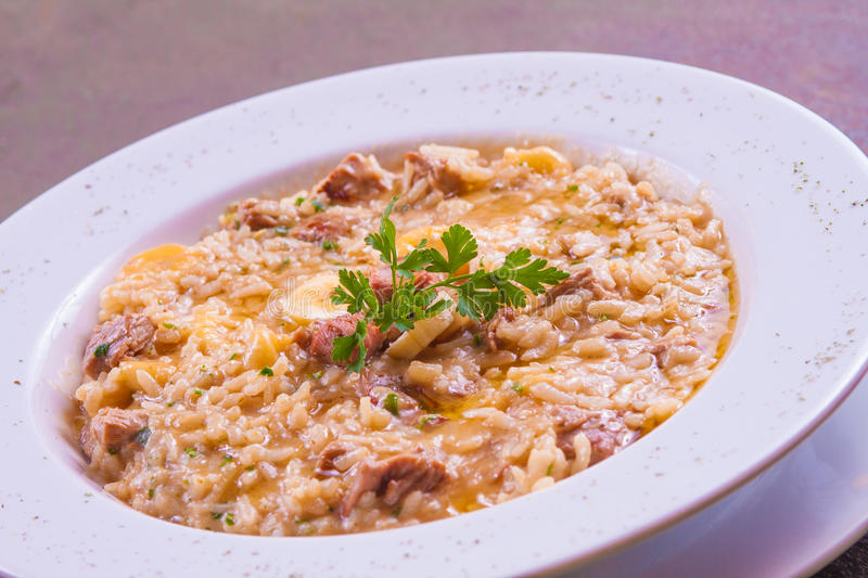 Jerked Beef Risotto royalty free stock photography