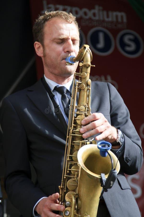 Jeroen van Genuchten performing live on stage. DORDRECHT, NETHERLANDS - JULY 15: Jeroen van Genuchten performing live on stage for The Jig at the Big Rivers royalty free stock image